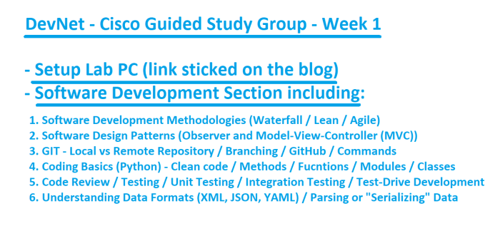Week 1 Of The Cisco Devnet Grind Sdlc Methods Design Patterns Git Coding Basics Code Review Unit Testing Integration Tdd And Tons Of Info The Devnet Grind